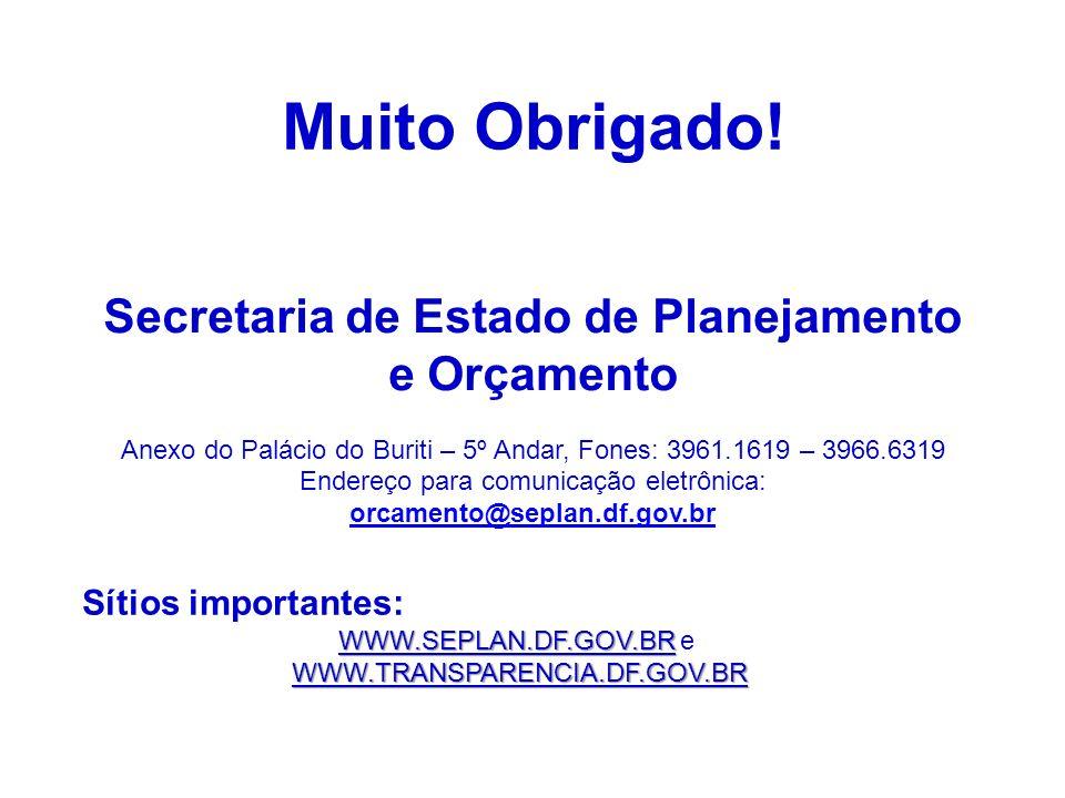 Secretaria de Estado de Planejamento e Orçamento Anexo do Palácio do Buriti – 5º Andar, Fones: 3961.1619 – 3966.6319 Endereço para comunicação eletrôn
