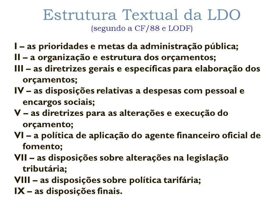 Estrutura Textual da LDO (segundo a CF/88 e LODF) I – as prioridades e metas da administração pública; II – a organização e estrutura dos orçamentos;