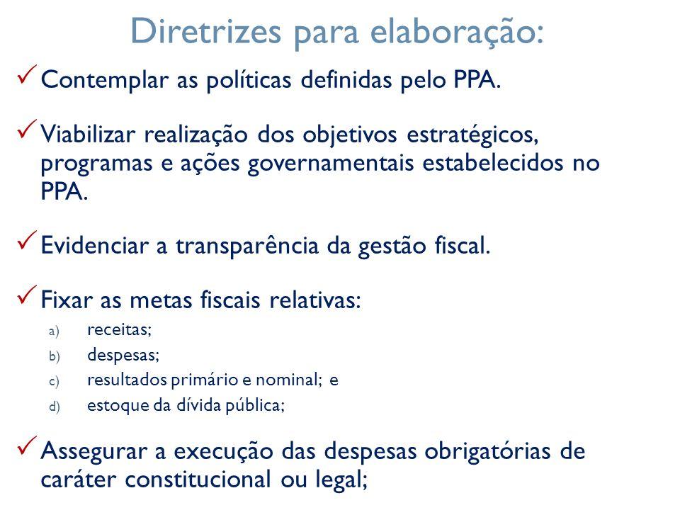 Contemplar as políticas definidas pelo PPA. Viabilizar realização dos objetivos estratégicos, programas e ações governamentais estabelecidos no PPA. E