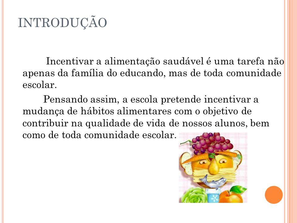 INTRODUÇÃO Incentivar a alimentação saudável é uma tarefa não apenas da família do educando, mas de toda comunidade escolar.