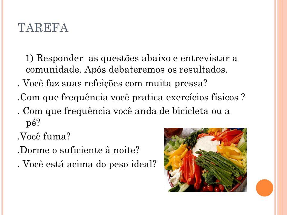 TAREFA 1) Responder as questões abaixo e entrevistar a comunidade.