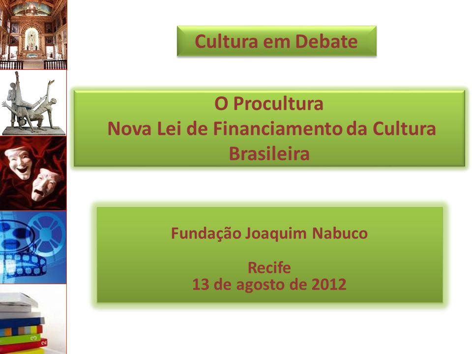 O Procultura Nova Lei de Financiamento da Cultura Brasileira Fundação Joaquim Nabuco Recife 13 de agosto de 2012 Cultura em Debate