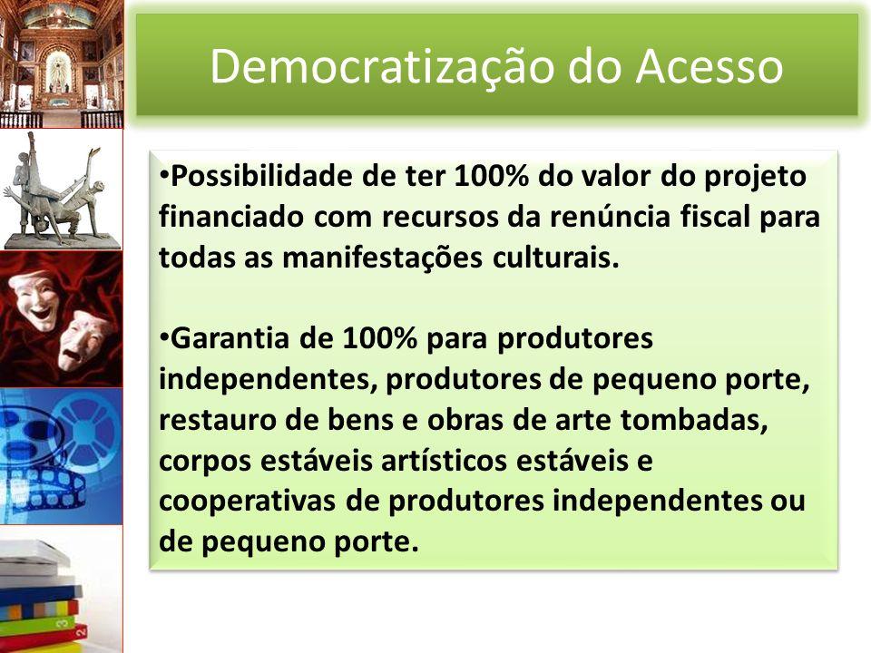 Democratização do Acesso Possibilidade de ter 100% do valor do projeto financiado com recursos da renúncia fiscal para todas as manifestações culturais.