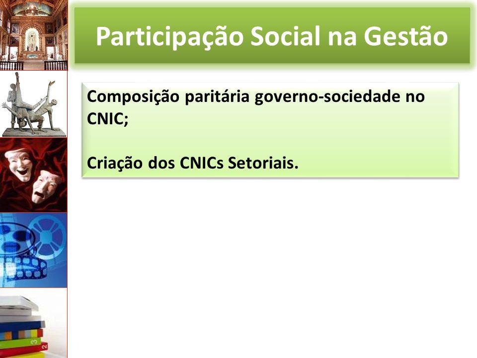 Participação Social na Gestão Composição paritária governo-sociedade no CNIC; Criação dos CNICs Setoriais.