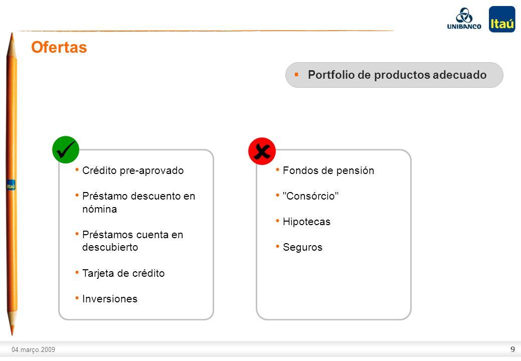 A marca Itaú não pode ser movimentada ou modificada. Número do slide: Arial normal corpo 10, escrito em preto. 04.março.2009 9 Ofertas Portfolio de pr