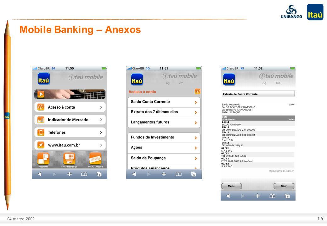 A marca Itaú não pode ser movimentada ou modificada. Número do slide: Arial normal corpo 10, escrito em preto. 04.março.2009 Mobile Banking – Anexos 1