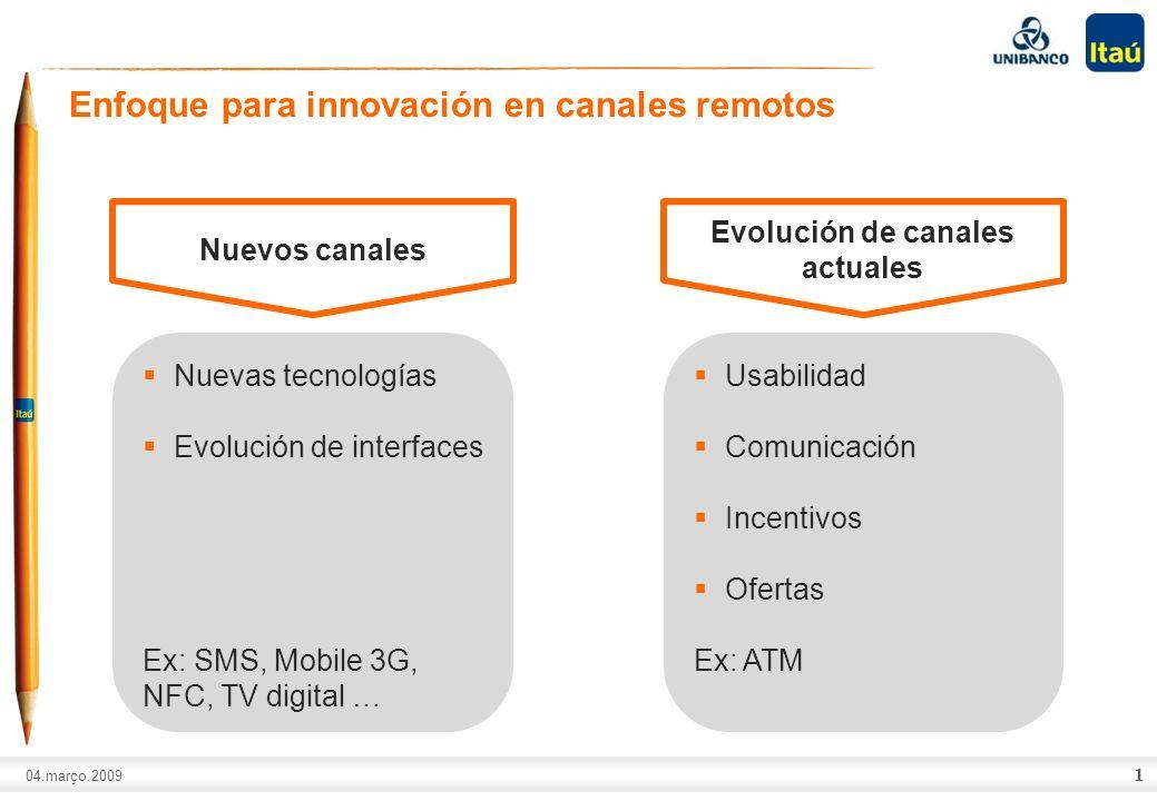 A marca Itaú não pode ser movimentada ou modificada. Número do slide: Arial normal corpo 10, escrito em preto. 04.março.2009 1 Enfoque para innovación