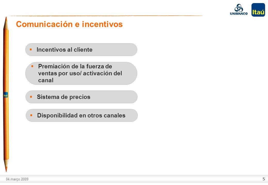 A marca Itaú não pode ser movimentada ou modificada. Número do slide: Arial normal corpo 10, escrito em preto. 04.março.2009 5 Comunicación e incentiv