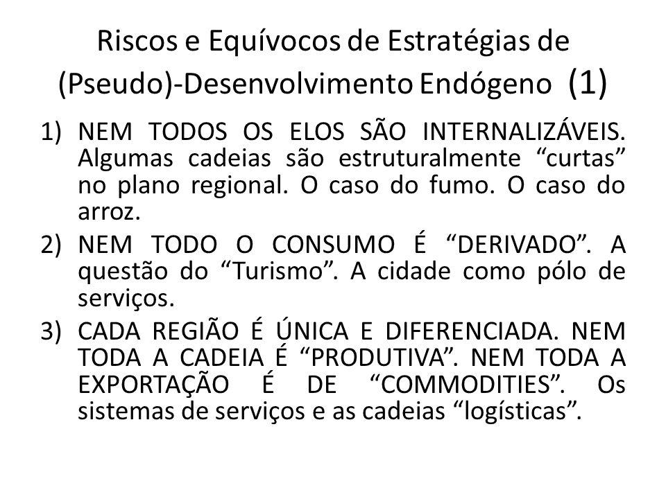Riscos e Equívocos de Estratégias de (Pseudo)-Desenvolvimento Endógeno (1) 1)NEM TODOS OS ELOS SÃO INTERNALIZÁVEIS. Algumas cadeias são estruturalment
