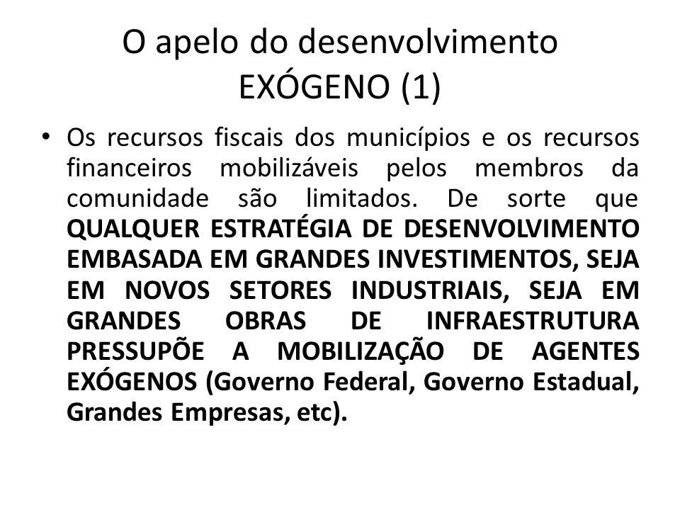O apelo do desenvolvimento EXÓGENO (1) Os recursos fiscais dos municípios e os recursos financeiros mobilizáveis pelos membros da comunidade são limit