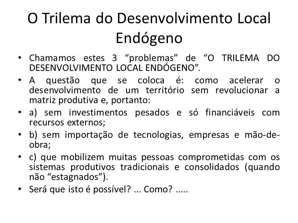O Trilema do Desenvolvimento Local Endógeno Chamamos estes 3 problemas de O TRILEMA DO DESENVOLVIMENTO LOCAL ENDÓGENO. A questão que se coloca é: como