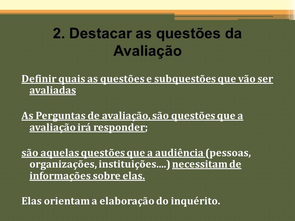 As questões de avaliação orientam todo o processo de avaliação; elas ajudam também a determinar os critérios, valores, etc na avaliação.