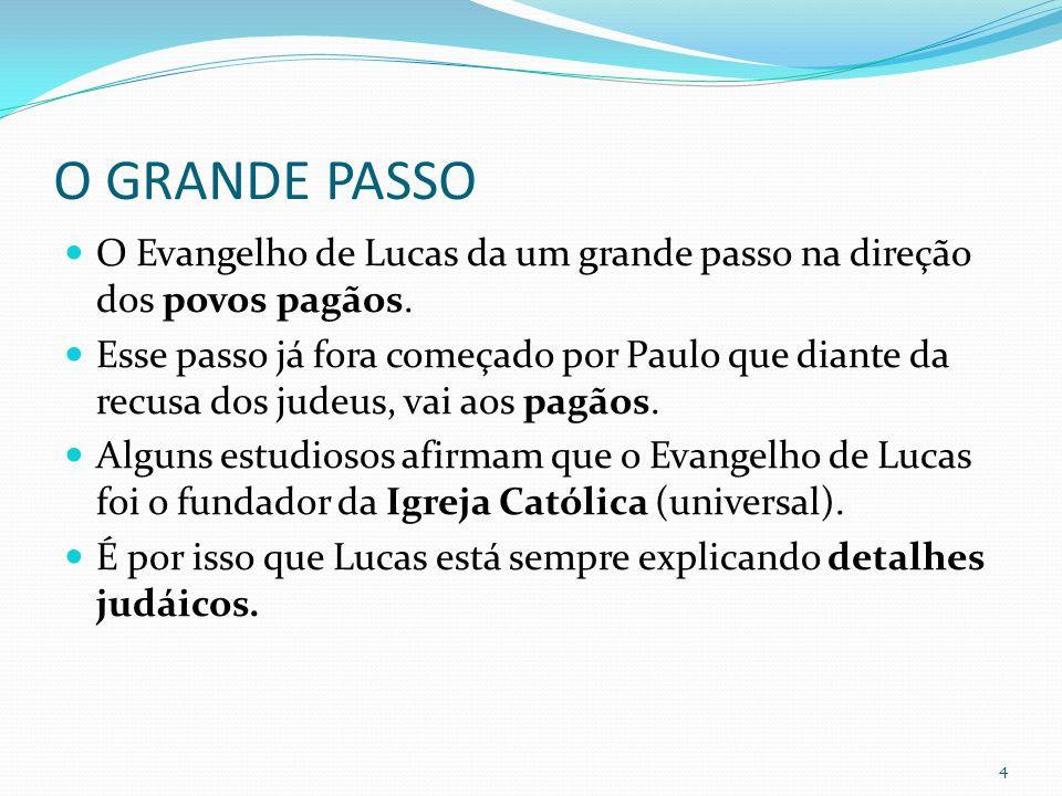 O GRANDE PASSO O Evangelho de Lucas da um grande passo na direção dos povos pagãos. Esse passo já fora começado por Paulo que diante da recusa dos jud