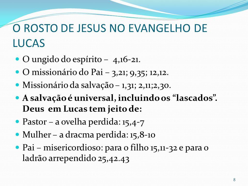 O ROSTO DE JESUS NO EVANGELHO DE LUCAS O ungido do espírito – 4,16-21. O missionário do Pai – 3,21; 9,35; 12,12. Missionário da salvação – 1,31; 2,11;
