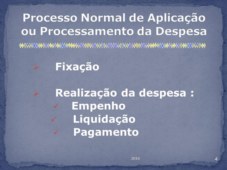 2010 4 Fixação Realização da despesa : Empenho Liquidação Pagamento