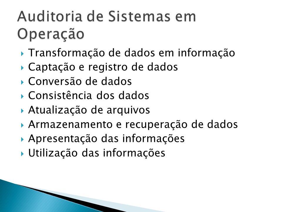 Transformação de dados em informação Captação e registro de dados Conversão de dados Consistência dos dados Atualização de arquivos Armazenamento e recuperação de dados Apresentação das informações Utilização das informações