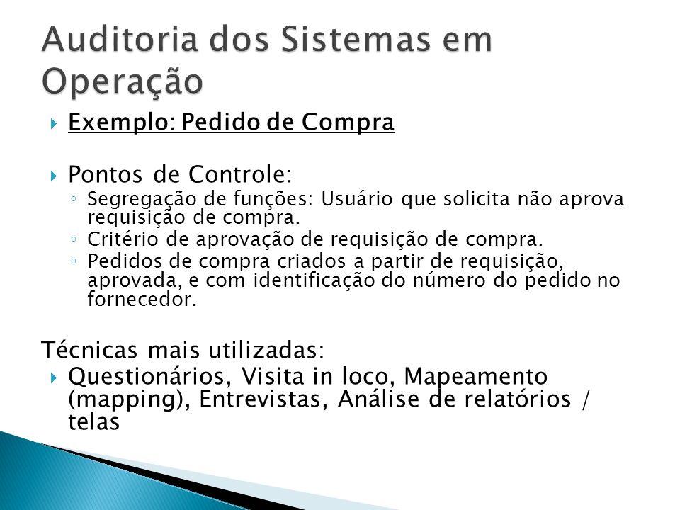 Exemplo: Pedido de Compra Pontos de Controle: Segregação de funções: Usuário que solicita não aprova requisição de compra.