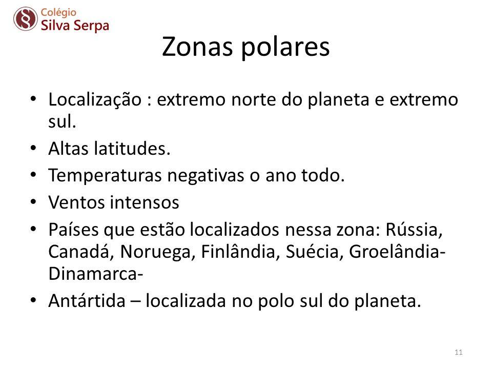 Zonas polares Localização : extremo norte do planeta e extremo sul. Altas latitudes. Temperaturas negativas o ano todo. Ventos intensos Países que est