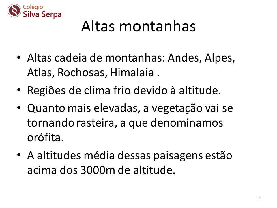 Altas montanhas Altas cadeia de montanhas: Andes, Alpes, Atlas, Rochosas, Himalaia. Regiões de clima frio devido à altitude. Quanto mais elevadas, a v