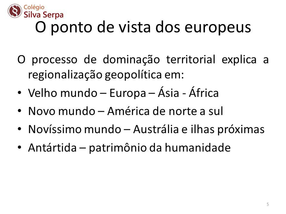 O ponto de vista dos europeus O processo de dominação territorial explica a regionalização geopolítica em: Velho mundo – Europa – Ásia - África Novo m