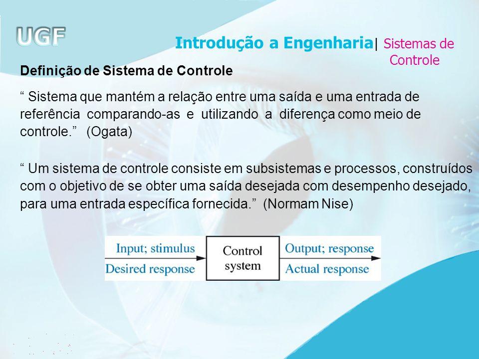 Definição de Sistema de Controle Sistema que mantém a relação entre uma saída e uma entrada de referência comparando-as e utilizando a diferença como