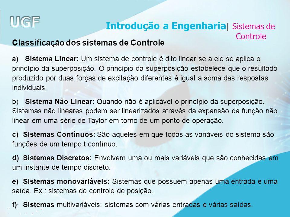 Classificação dos sistemas de Controle a) Sistema Linear: Um sistema de controle é dito linear se a ele se aplica o princípio da superposição. O princ