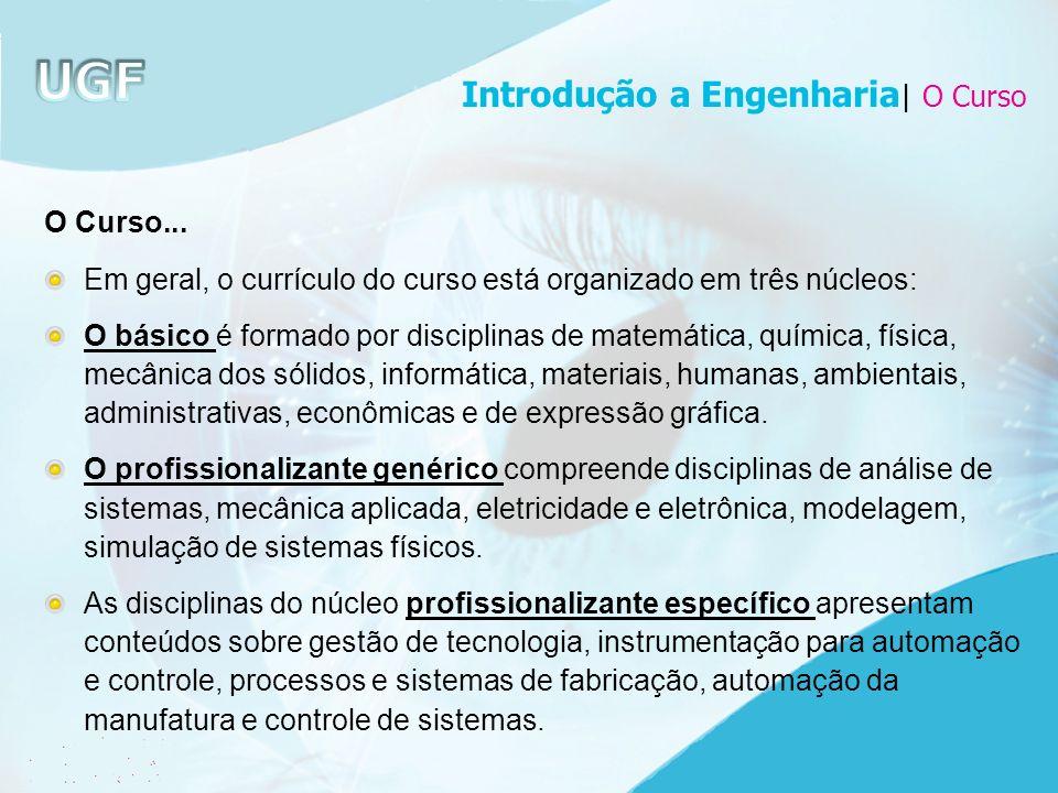 O Curso... Em geral, o currículo do curso está organizado em três núcleos: O básico é formado por disciplinas de matemática, química, física, mecânica