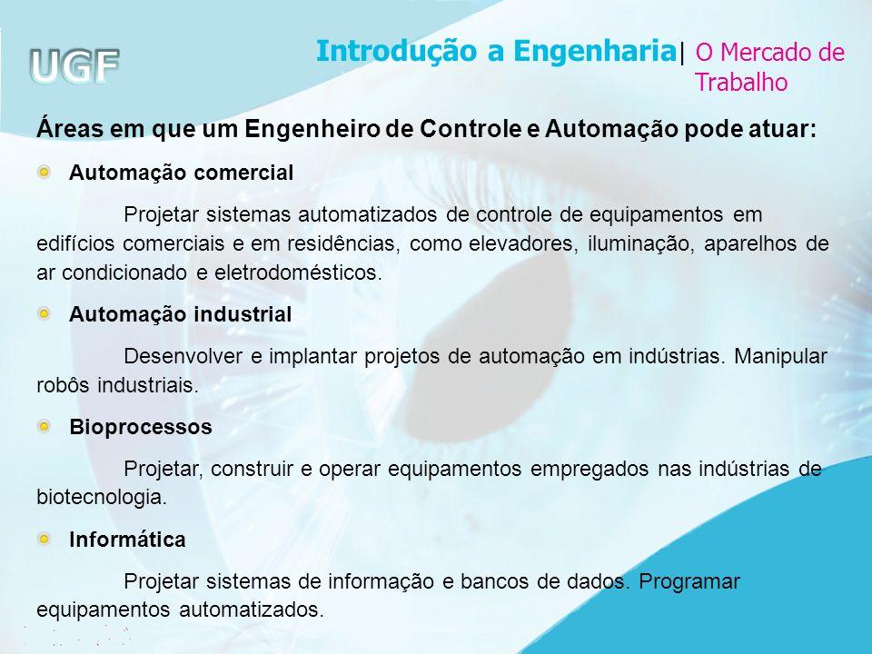 Áreas em que um Engenheiro de Controle e Automação pode atuar: Automação comercial Projetar sistemas automatizados de controle de equipamentos em edif