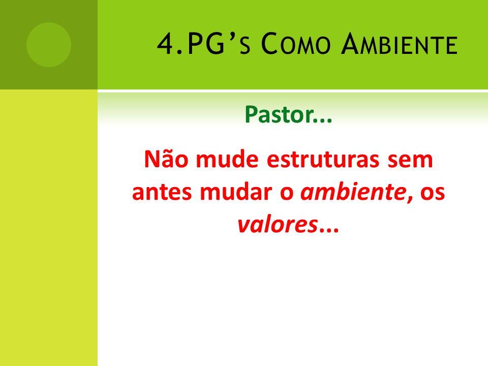 4.PG S C OMO A MBIENTE Pastor... Não mude estruturas sem antes mudar o ambiente, os valores...