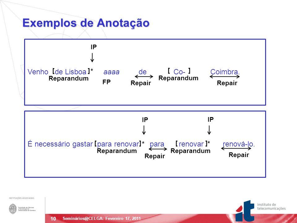 10 Exemplos de Anotação Seminários@CELGA: Fevereiro 17, 2011 Venho de Lisboa aaaa de Co- Coimbra.