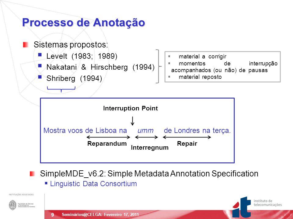 9 Processo de Anotação Sistemas propostos: Levelt (1983; 1989) Nakatani & Hirschberg (1994) Shriberg (1994) Seminários@CELGA: Fevereiro 17, 2011 material a corrigir momentos de interrupção acompanhados (ou não) de pausas material reposto Mostra voos de Lisboa na umm de Londres na terça.