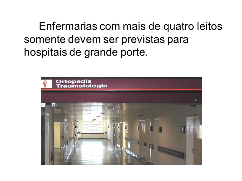 Enfermarias com mais de quatro leitos somente devem ser previstas para hospitais de grande porte.