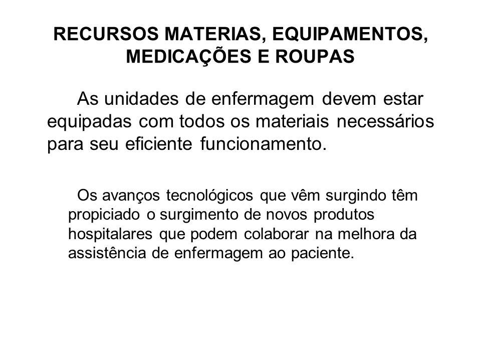 RECURSOS MATERIAS, EQUIPAMENTOS, MEDICAÇÕES E ROUPAS As unidades de enfermagem devem estar equipadas com todos os materiais necessários para seu efici