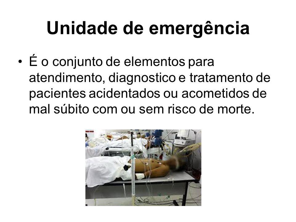 Unidade de emergência É o conjunto de elementos para atendimento, diagnostico e tratamento de pacientes acidentados ou acometidos de mal súbito com ou