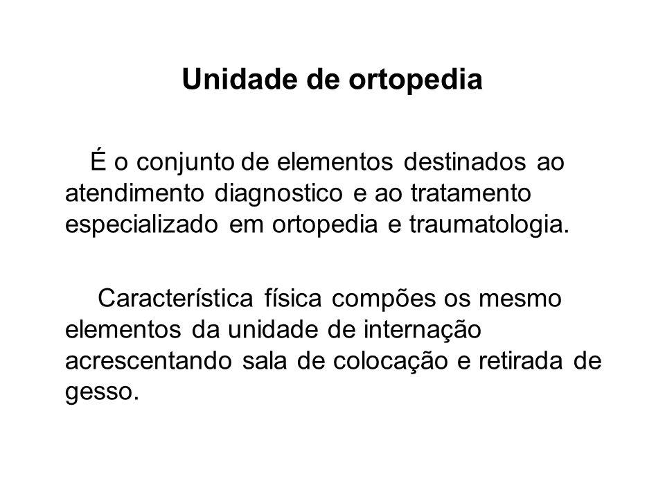 Unidade de ortopedia É o conjunto de elementos destinados ao atendimento diagnostico e ao tratamento especializado em ortopedia e traumatologia. Carac
