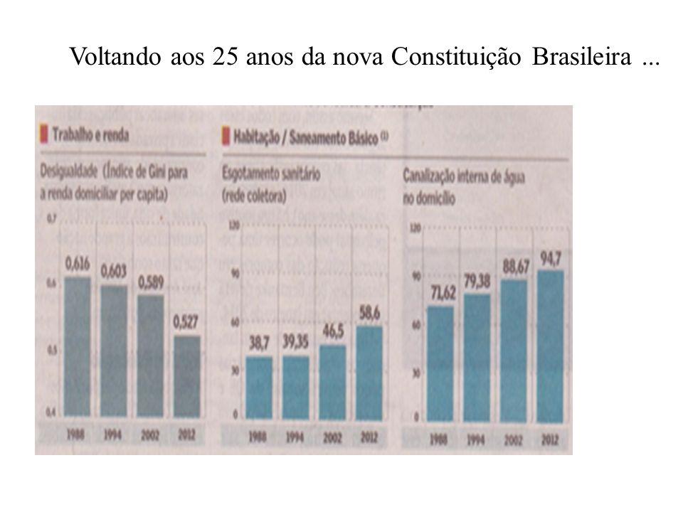 Índice de Gini – taxa de redução 1994 0,616 2012 0,527 Redução Valores No índice 0,089 % 14,4% 2012 0,527 % 14,4% Índice de Gini em 2027 Redução 0,144 x 0,527 = 0,076 Novo índice 0,451 Projeção para daqui há 25 anos