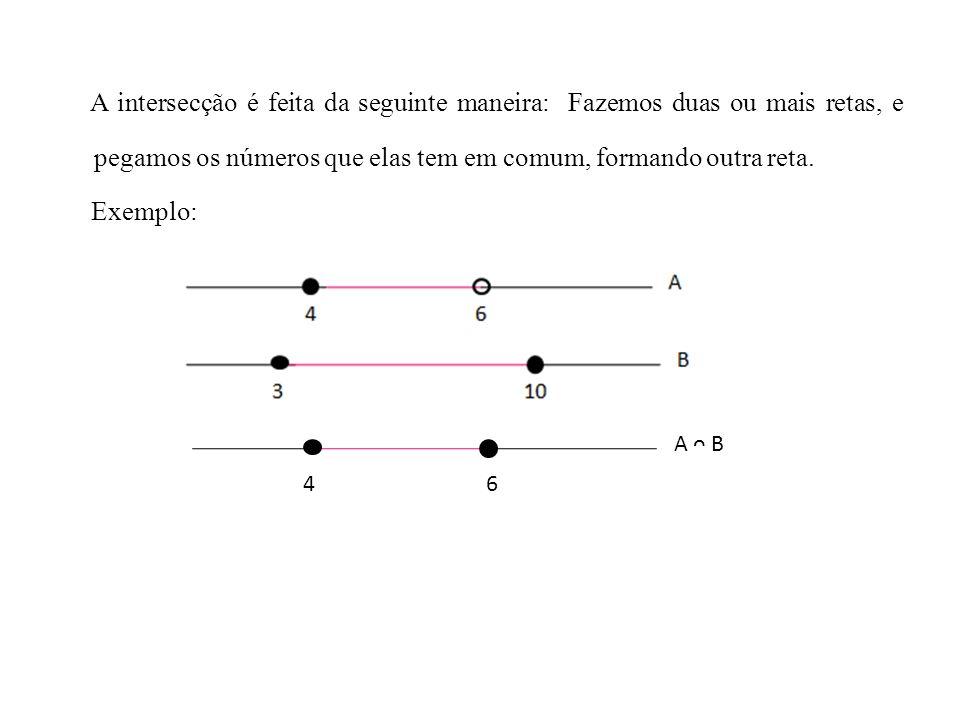 A intersecção é feita da seguinte maneira: Fazemos duas ou mais retas, e pegamos os números que elas tem em comum, formando outra reta. Exemplo: 4 6 A