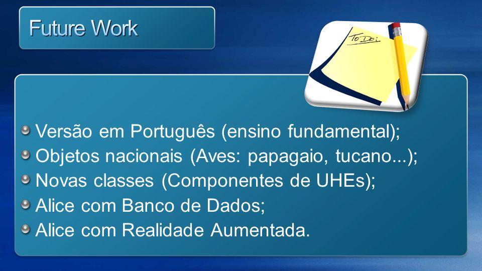 Versão em Português (ensino fundamental); Objetos nacionais (Aves: papagaio, tucano...); Novas classes (Componentes de UHEs); Alice com Banco de Dados
