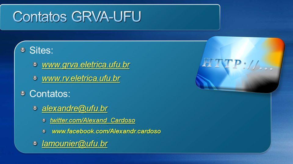 Sites: www.grva.eletrica.ufu.br www.rv.eletrica.ufu.br Contatos: alexandre@ufu.br twitter.com/Alexand_Cardoso www.facebook.com/Alexandr.cardoso www.fa