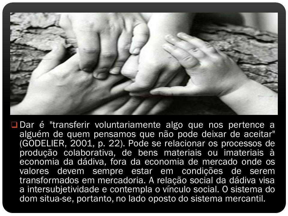 Dar é transferir voluntariamente algo que nos pertence a alguém de quem pensamos que não pode deixar de aceitar (GODELIER, 2001, p.