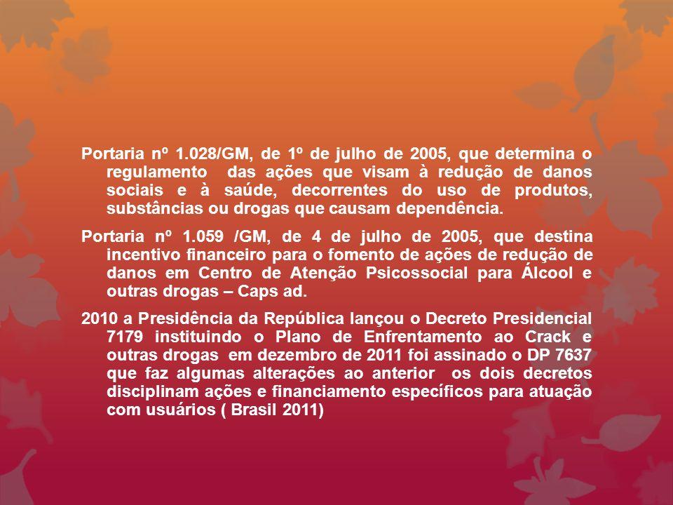 Portaria nº 1.028/GM, de 1º de julho de 2005, que determina o regulamento das ações que visam à redução de danos sociais e à saúde, decorrentes do uso