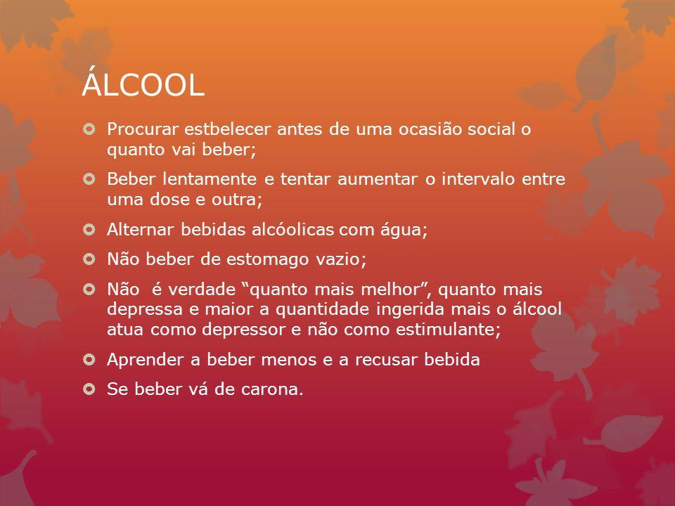 ÁLCOOL Procurar estbelecer antes de uma ocasião social o quanto vai beber; Beber lentamente e tentar aumentar o intervalo entre uma dose e outra; Alte