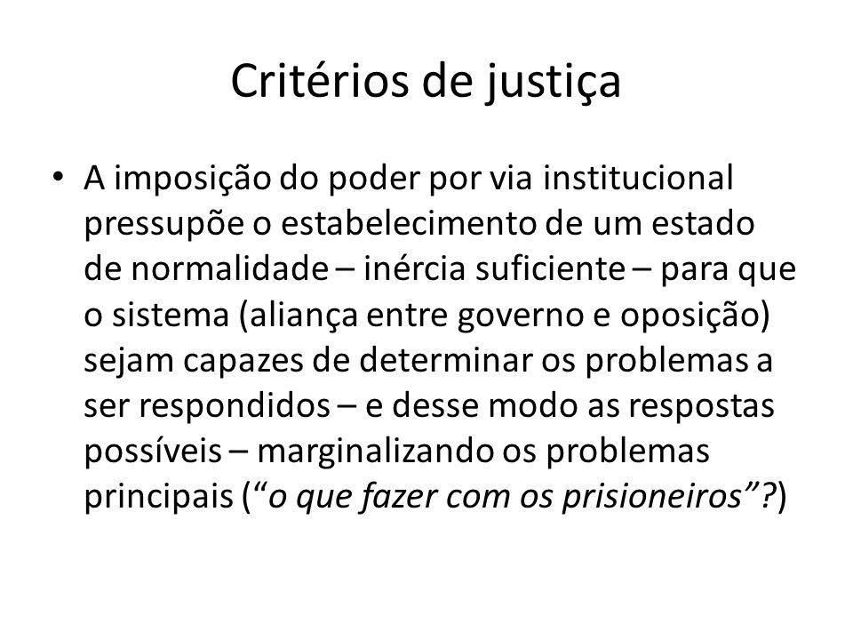 Critérios de justiça A imposição do poder por via institucional pressupõe o estabelecimento de um estado de normalidade – inércia suficiente – para qu