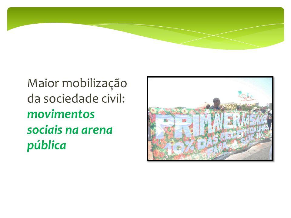 Maior mobilização da sociedade civil: movimentos sociais na arena pública