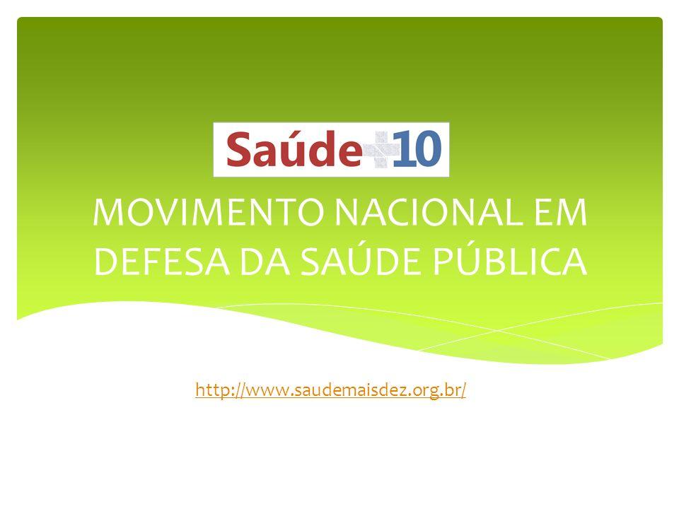 MOVIMENTO NACIONAL EM DEFESA DA SAÚDE PÚBLICA http://www.saudemaisdez.org.br/