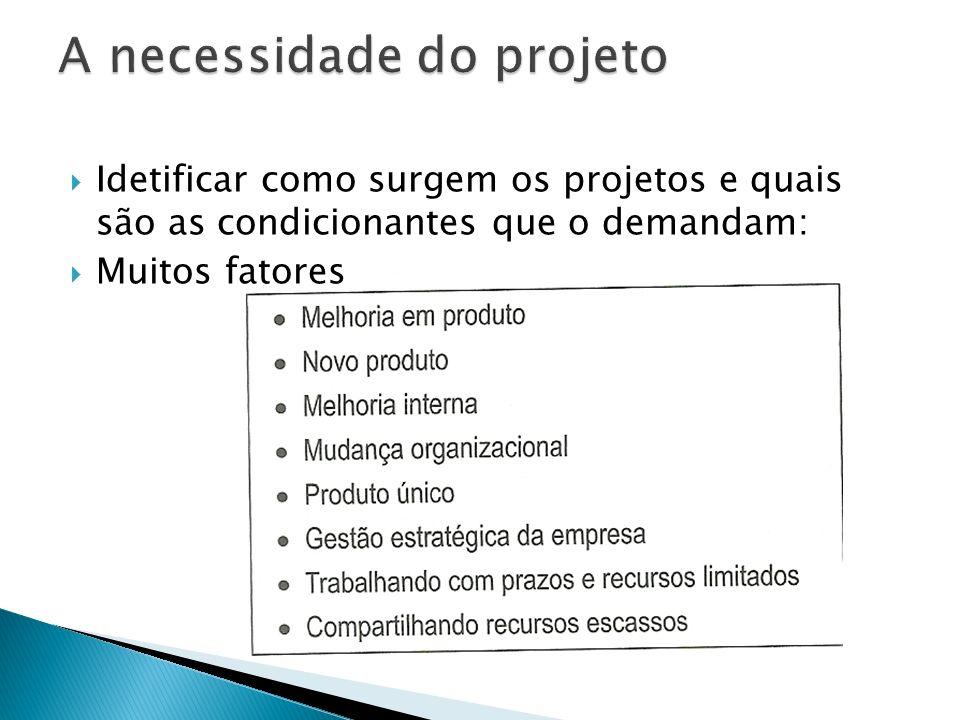 Idetificar como surgem os projetos e quais são as condicionantes que o demandam: Muitos fatores