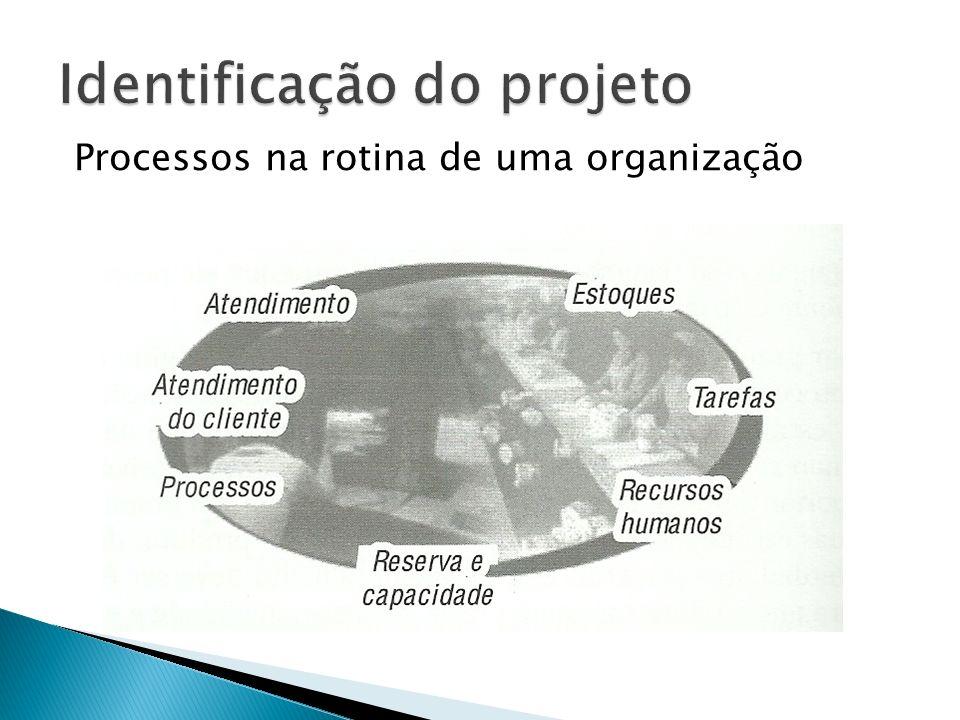 Identificação de processos e projetos nas rotinas