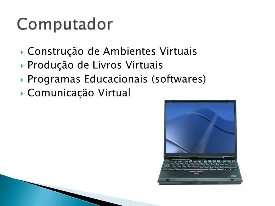 Construção de Ambientes Virtuais Produção de Livros Virtuais Programas Educacionais (softwares) Comunicação Virtual