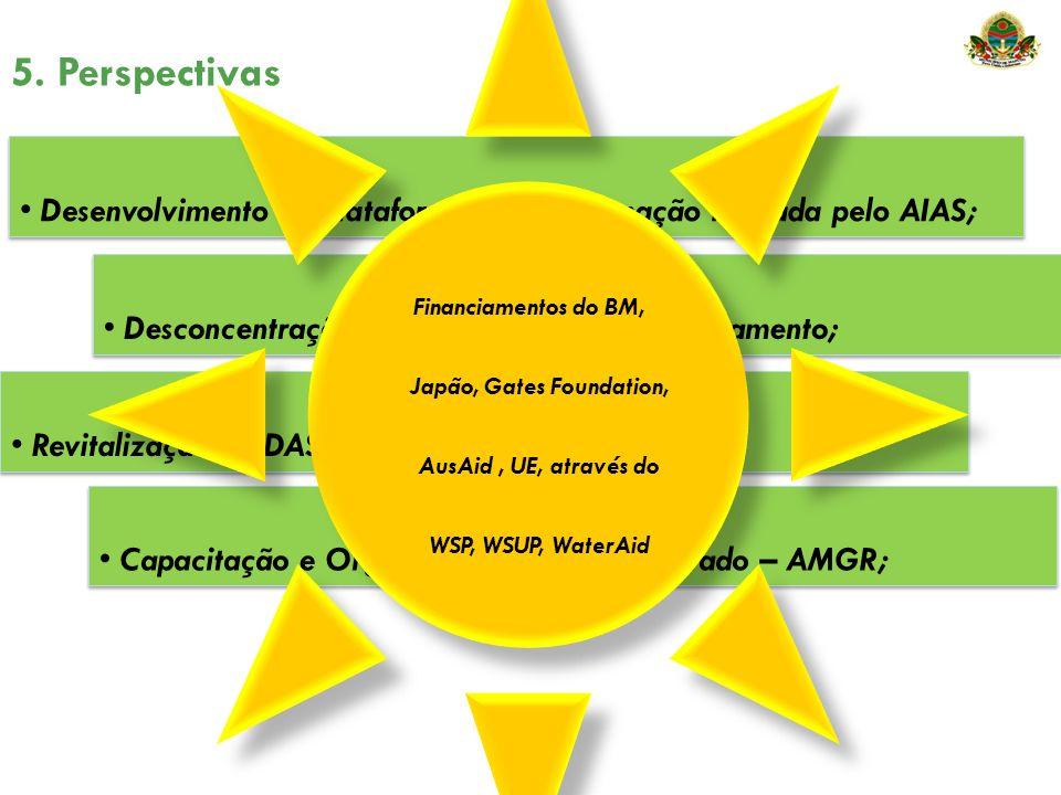 5. Perspectivas Desconcentração do serviço de Água e Saneamento; Desenvolvimento de Plataforma de Coordenação liderada pelo AIAS; Revitalização do DAS