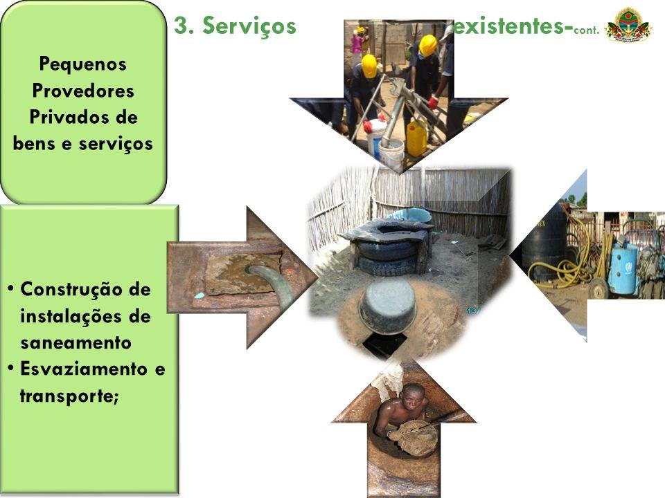 Pequenos Provedores Privados de bens e serviços Construção de instalações de saneamento Esvaziamento e transporte; Construção de instalações de saneam